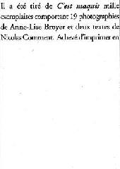 C'est Maquis - Anne-Lise Broyer